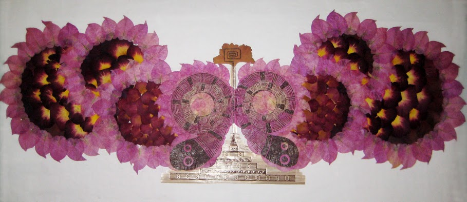 This image features artwork by Adriana Marrufo Díaz. It is a print composed of dried flowers in the shape of a butterfly.