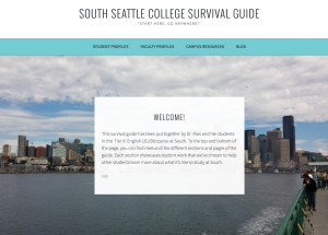 A screenshot of the homepage of the South Seattle College Survival Guide created by students in the Tier tracks. There is a background image of the Seattle Sound, taken while on the ferry that travels from Bainbridge to Seattle.