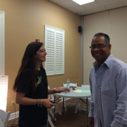UCF student Charlene and HCC student Rubén joke during break time.